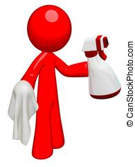 limpiador, hombre, rojo, profesional