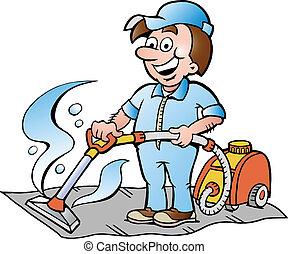 limpiador, ilustración, alfombra