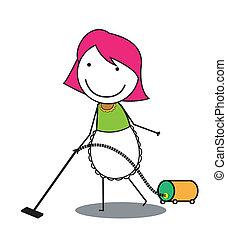 limpiador, mujer, vacío