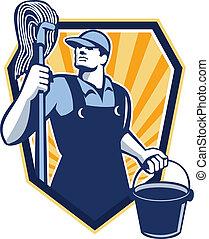 limpiador, protector, friegue cubo, retro, asimiento, portero