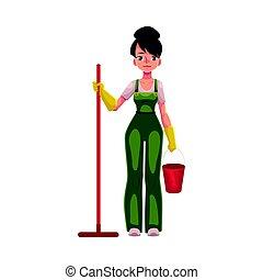 limpiador, servicio, cubo, trapeador, niña, charwoman, ...