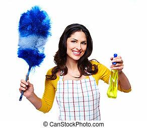 limpiador, sonriente, joven, woman.