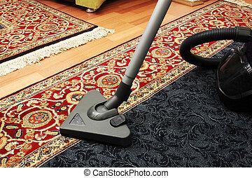 limpiador, vacío, casa limpia