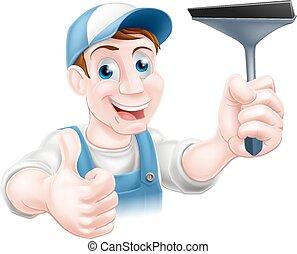 limpiador, ventana, caricatura