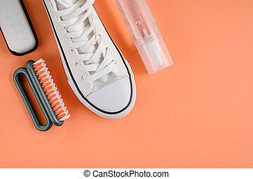 limpiador, zapatilla, plano de fondo, naranja, rociar, ...