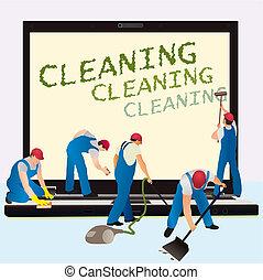 limpiadores, cuaderno, cinco, dar, grande
