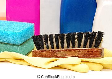 limpiadores, higiene, quehacer doméstico, encima de cierre