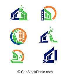 limpieza, comercial, logotipo, hogar