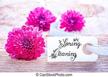 limpieza del resorte, tres, flor, etiqueta, puprle, caligrafía, flor