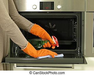 limpieza, el, horno