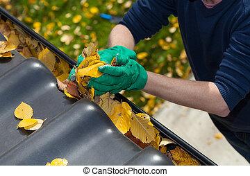 limpieza, el, zanja de lluvia, durante, otoño