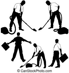 limpieza, empresa / negocio, silhoue
