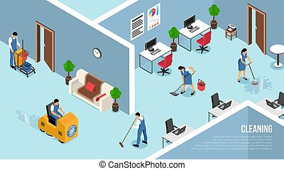 limpieza, isométrico, servicio, comercial