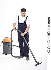 limpieza, piso, con, máquina