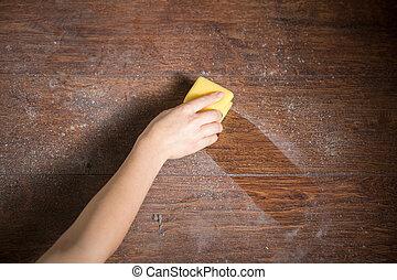 limpieza, polvo, de, el, madera