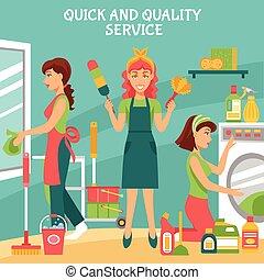 limpieza, servicio, ilustración
