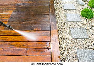 limpieza, terraza, arandela, presión