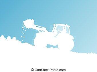 limpieza, tractor, descargar, nieve