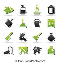limpieza, y, higiene, iconos