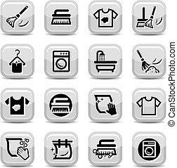 limpieza, y, lavado, iconos, conjunto