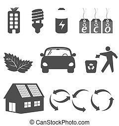limpio, ambiente, símbolos