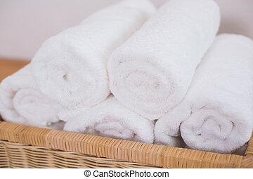 limpio, arrollado, blanco, toallas