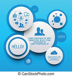 limpio, círculo, infographic, elementos