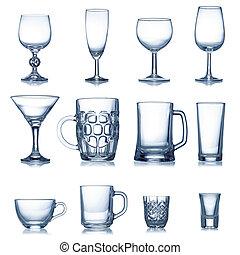 limpio, cristalería, vacío, colección, aislado