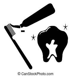 limpio, diente, icono, conjunto