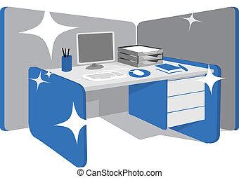limpio, escritorio de oficina, /, estación de trabajo