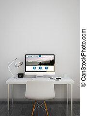 limpio, espacio de trabajo, con, diseño telaraña, sitio web