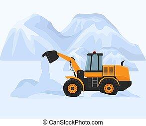 limpio, invierno, frío, vector, trabaja, blanco, snowblower, tractor, eliminación, ventisqueros, amarillo, illustration., gasolina, máquina, nieve, fondo., montaña, road., inmenso