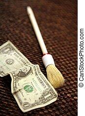 limpio, negro, dinero, dólar, nota, y, cepillo