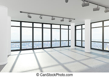 limpio, oficina vacía, interior