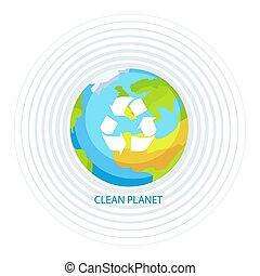 limpio, tierra de planeta, cartel, vector, ilustración
