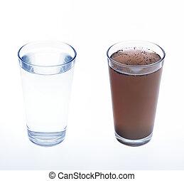 limpio, y, sucio, agua, en, vidrio de bebida, -, concepto