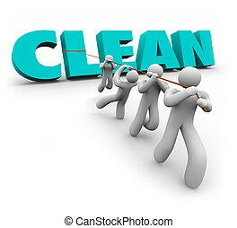 limpo, 3d, palavra, puxado, cima, equipe, povos trabalham, limpadores