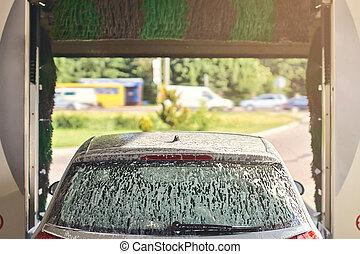 limpo, automóvel, carro, lavagem, serviço, interior