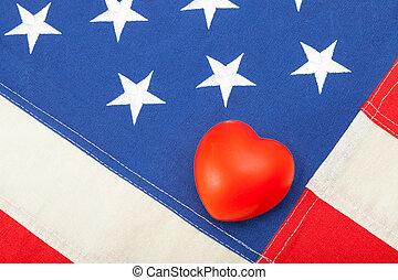 limpo, bandeira eua, com, brinquedo, coração, sobre, aquilo, -, tiro estúdio