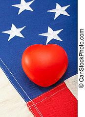 limpo, bandeira eua, com, coração, sobre, aquilo, -, tiro estúdio