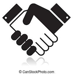 limpo, brilhante, ícone, com, apertar mão