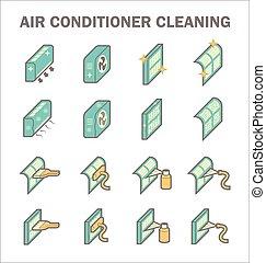 limpo, condicionamento, ar