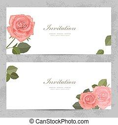 limpo, convite, cartões, com, encantador, rosas, para, seu, desenho