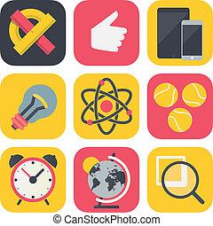 limpo, e, simples, educação, ícones, para, móvel, os