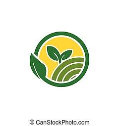 limpo, fazenda, agricultura, logotipo, desenho, conceito