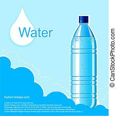 limpo, garrafa, ilustração, água, background.vector, texto
