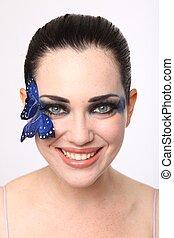 limpo, imagem, de, um, mulher, com, borboleta, compor