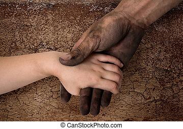 limpo, mão, pretas, sujo, segurar passa, criança, homem
