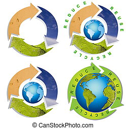 limpo, meio ambiente, -, conceitual, símbolo reciclando