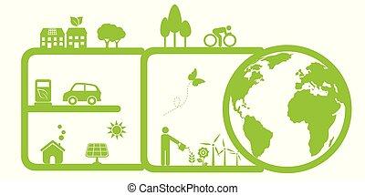 limpo, meio ambiente, e, eco